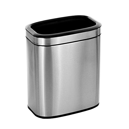 Alpine Industries 20 L / 5.3 Gal Stainless Steel Slim Open Trash Can - Compact Garbage Bin - Wide Access Top Slender Durable Receptacle with Sturdy Plastic Liner