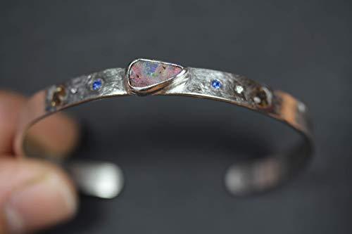 Schöner Unikat Armreif Silber 925 Opal,Diamanten,Saphire und Andalusite Video Edelsteine