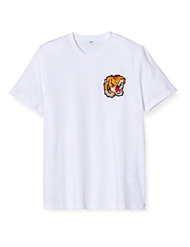 find. Herren T-Shirt mit Tiger-Logo, Weiß (White), Large