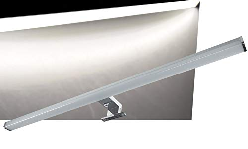 LED Spiegelleuchte Badezimmer-Leuchte IP44 15Watt 1200 Lumen 78cm | Spiegelschrank Leuchte | Wand- und Aufbau Montage | Beleuchtung für Schrank Spiegel Bad I Alu-Optik I Neutralweiß