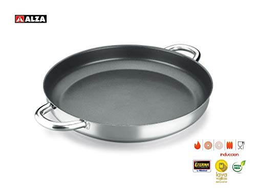 ALZA Classic Master - Paellera Acero Inoxidable 18/10, Antiadherente, Triple Capa, Apta para Todo Tipo de Cocina, Incluida Inducción, Apto para Lavavajillas, 32cm