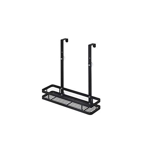 XCVB 2-laags doucherek deur hangende mand badkamer opslag organisator plank roestvrij staal badkamer plank wandmontage mat zwart, een