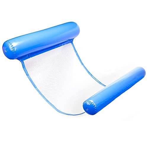 ipow Wasser Hängenmatte, aufblasbares Luftmatratze Pool Wasser Hammock schwimmende Liegen für Erwachsene und Kinder im Strand (Klassisch Blau)