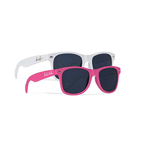 Bride Tribe + Bride Sunglasses - Gifts, Favors, Accessories for Bachelorette Parties, Weddings, and Bridal Showers (Neon Pink, 10 Piece Set)