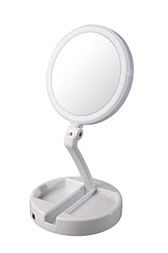 Floxite Dual Sided 12x And 1x Circle Lite Folding Vanity Travel Mirror
