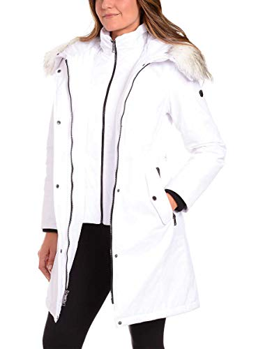 1 Madison Ladies' Water Resistant Long Parka with Faux Fur Hood (White01, X-Large)