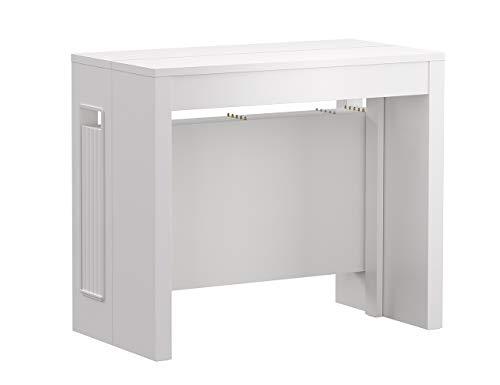 Iconico Home ZOOM, Tavolo consolle allungabile con 5 prolunghe fino a 272 cm, Ingresso, Soggiorno, Sala da Pranzo, 90x47xh76 cm, Bianco opaco