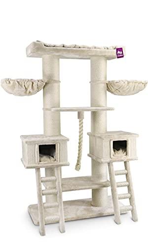 Petrebels Kratzbaum XXL Ragdoll 200 cm Beige/Creme, Premium Qualität Katzenkratzbaum für Maine Coon und große Katzen, mit großen Hängematten, XL Sofa und 20cm Ø Natur-Sisal Stämme