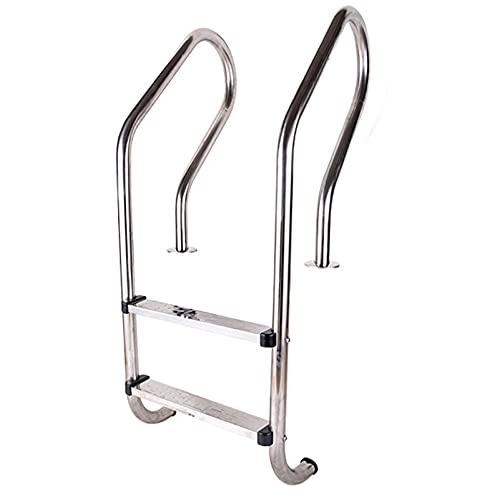 PINFU Escalera para Piscina de Acero Inoxidable, Escalera para Piscina enterrada de 2 escalones con escalón Antideslizante, barandilla para Piscina de fácil instalación