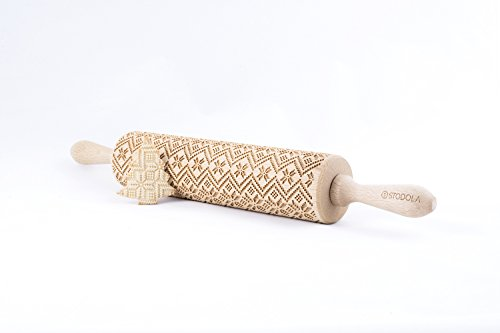 Rolling Pin Embossed with SCANDINAVIAN Pattern for Baking