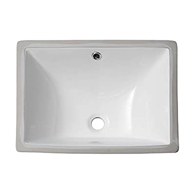 Undermount Bathroom Sink Rectangle - Sarlai 18.5'' Pure White Porcelain Ceramic Lavatory Vanity Bathroom Vessel Sink Basin Bowl