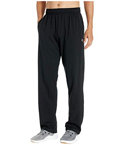 Champion Men's Open Bottom Lightweight Jersey Pant, Black, XXX-Large