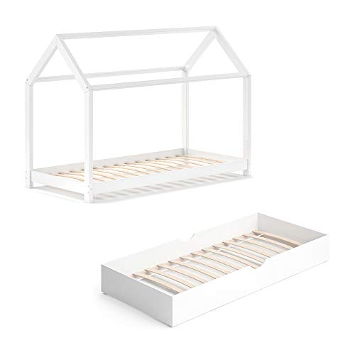 VitaliSpa Kinderbett Wiki 90x200 cm Bett Weiß Schlafplatz Unterbett Hausbett Kinderhaus