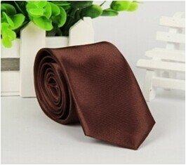 Gespout Corbata de Hombre Chicos Clásica Paño Tie Tuxedo Novio Vestido Ropa Maquillaje Accesorios Business Oficinas Patrón de Color Puro Elegante 1pcs Café