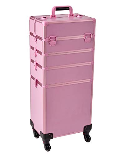 Rolling Train Case 5-in-1 with nail polish holder Portable Makeup Train Case Professional Cosmetic Organizer Makeup Traveling case Trolley Cart Trunk