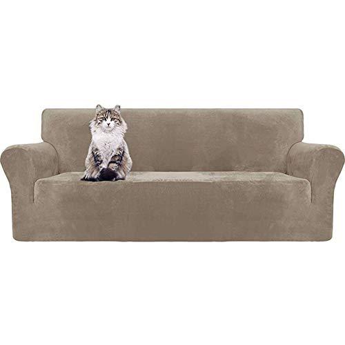 JBNJV Funda de sofá de Terciopelo elástico para 123 Cushion Funda de sofá Funda de sofá con Correas Antideslizantes Protector de Muebles para Mascotas Niños-Caqui-4 plazas 230-300cm