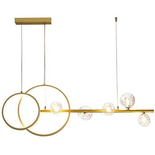 SYXBB-Lampe LED Lámpara Colgante Moderna Lámpara G4 y LED Lámpara Colgante de la Bola de Cristal Lámpara Creativa de la lámpara de Vidrio Transparente Lámpara de Cola 27W + 5 * 5W,Oro,3000K