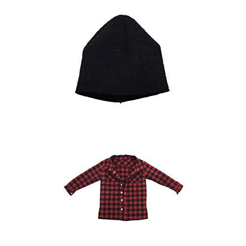1/6 skalad röd rutig skjortjacka herrkläder och mössa för 12figurdockor