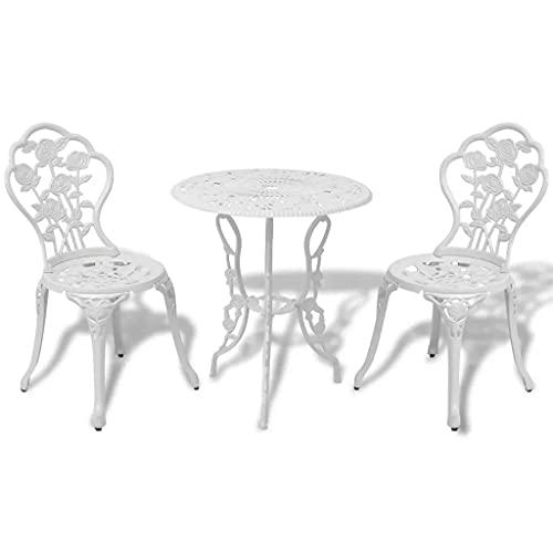 Wakects Juego de mesa de jardín con 2 sillas, estilo hierro forjado, efecto antiguo, ideal para balcón, terraza, pub, bar, aluminio fundido y hierro fundido, color blanco