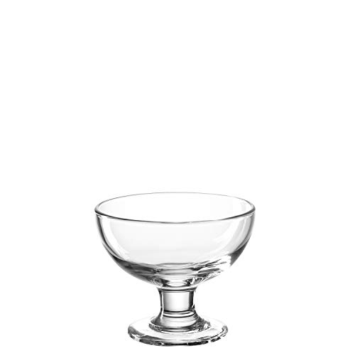 Leonardo Cucina Eis-Becher aus Glas, Schale auf Fuß, spülmaschinengeeignete Dessert-Schale, 6er Set, ∅ 120 mm, 020851