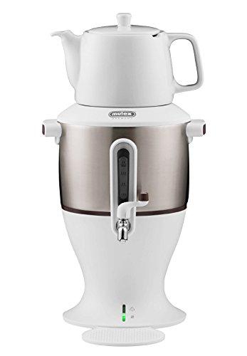 Mulex 290085 Weiß 4 Liter Samowar Teezubereiter, Kunststoff und Porzellan