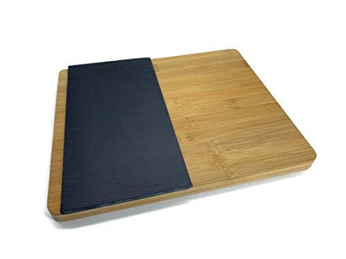 Bambú Pizarra Plato Set Tabla para cortar la carne Plato perfecta Grillen