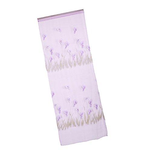 270x100cm Tende Voile Viola Giglio di Calla Modello Decorazioni Finestra