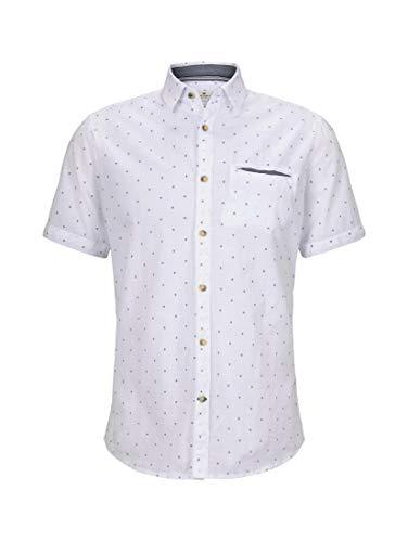 TOM TAILOR Herren Blusen, Shirts & Hemden Gemustertes Kurzarmhemd mit Paspeltasche im Slim Fit White Navy Scattered Design,XL,23258,2000