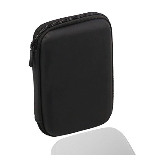 Rocita Festplattentasche bis 6,35 cm / 2,5 Zoll Stoßsichere Schutzhülle für HDD Externe Tragbare Festplatte Tasche Schwarz