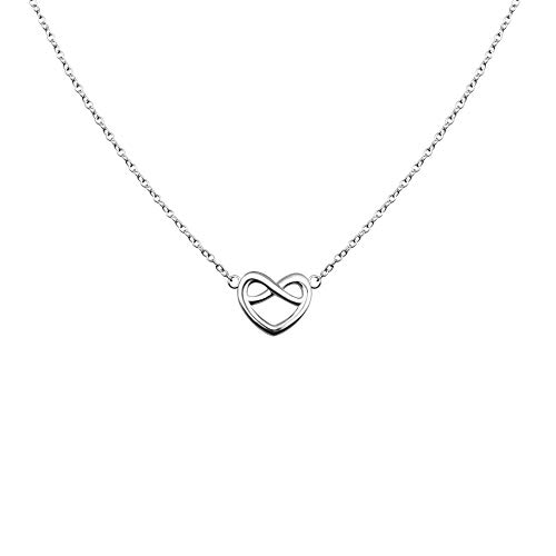 VENSERI S925 Sterling Silver Jewelry Celtic Love Knot Necklace Celtic Heart Knot Necklace Friendship Necklace Birthday Gift