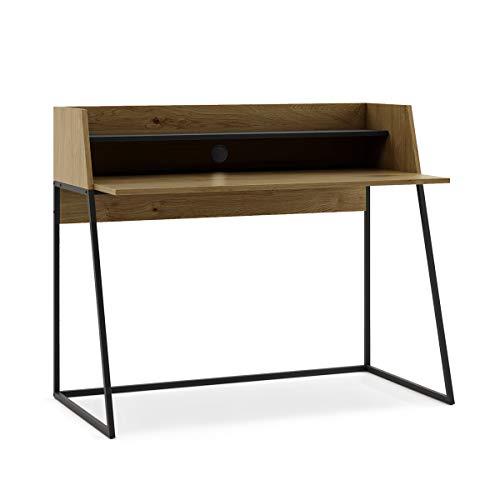 Mc Haus KALA - Escritorio Madera y Negro, Mesa de oficina para ordenador Despacho Estudio, Consola con 2 estantes y patas negras 120x62x89cm