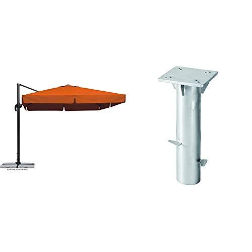 Schneider Sonnenschirm Rhodos, terracotta, 300x300 cm quadratisch, Gestell Aluminium/Stahl, Bespannung Polyester, 23.3 kg & Universal-Bodenplatte