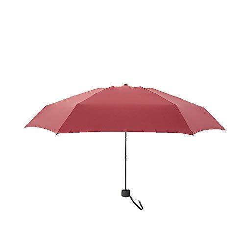 Mini Paraguas de Bolsillo Soleado Lluvia de Doble Uso Portable Pequeño Paraguas de Sol Plegable 5 Construcción Hombres Mujeres 1pc del Vino RedbackpackLuggage