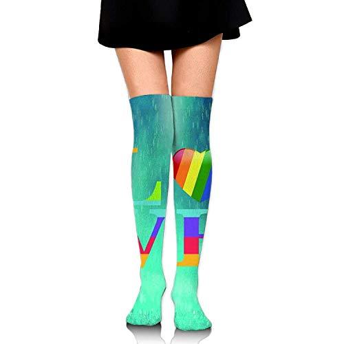 GHJL Dames Liefde Regenboog Lesbische Gay Pride LGBT Casual Crew Top Sokken 60 cm Lengte