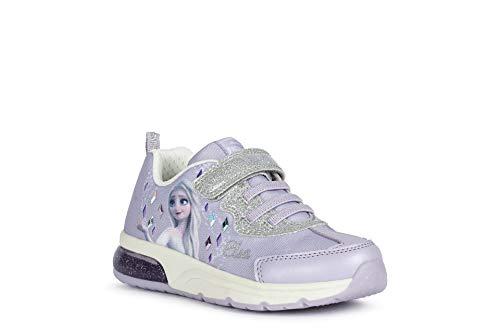 Geox Mädchen Low-Top Sneaker SPACECLUB Girl, Kinder Sneaker,lose Einlage,Blinklicht,Heel,Kinderschuhe,keil,Violett (Lilac/Silver),27 EU / 9 UK Child