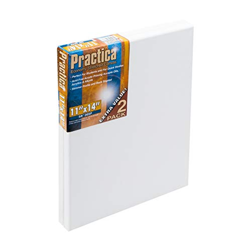 """Practica Economy Pre Stretched Canvas Cotton Artist Acid Free Primed Painting Canvas 5/8"""" Deep [2-Pack]- 11x14"""""""