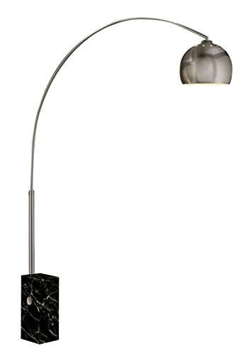 Benjara Steel Floor Lamp with Sleek Curved Rod and Marble Base, Black and Silver