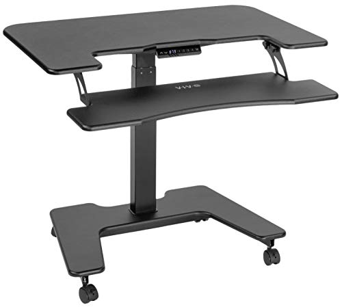 VIVO Black Electric Mobile Height Adjustable 36 inch Dual Platform Standing Desk with Wheels, Rolling Small Space Table, Sit Stand Workstation, DESK-V111VT