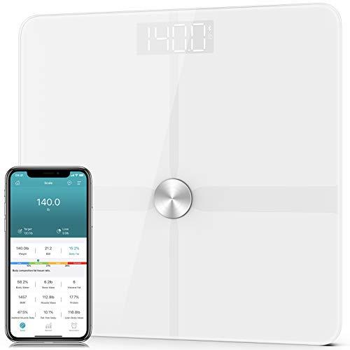 1byone Balanza de grasa corporal Bluetooth para peso corporal, báscula de peso digital inteligente para baño con tecnología ITO más precisa, BMI, 14 medidas, 6 pilas AAA, cinta métrica para el cuerpo incluida, 400 libras