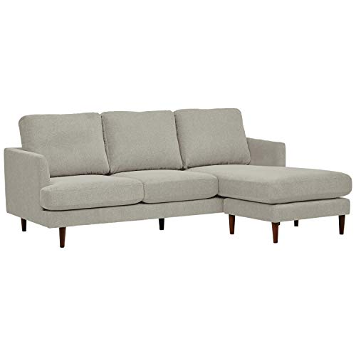 Rivet Goodwin Modern Sectional Sofa, 88.6'W, Light Grey