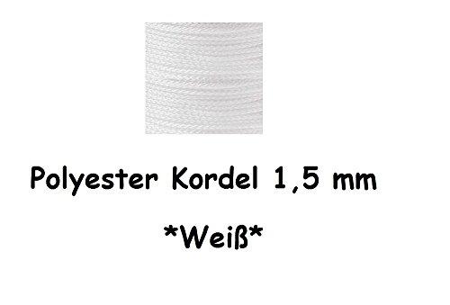Schnullerkettenschnur Polyester Kordel in verschiedenen Farben und Längen (5 Meter, Weiß)