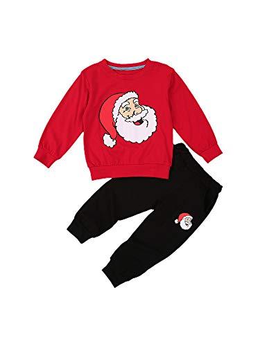 Siyova Conjunto Navidad de 2 Piezas Niño Sudadera con Manga Larga + Pantalones Jersey de Algodón con Cuello Redondo Top Niño Suelto Pullover Niño con Dibujo Papá Noel (Rojo, 2-3 Años)