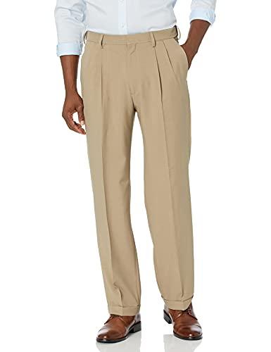 Haggar Men's Premium Comfort Classic Fit Pleat Expandable Waist Pant, Medium Khaki, 44Wx29L