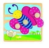 Diset Goula - Puzzle Mariposa, 4 Piezas de Madera 53065