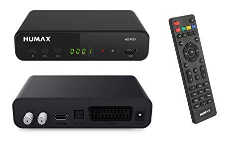 Humax HD Fox Digitaler HD Satellitenreceiver 1080P Digital HDTV Sat-Receiver mit 12V Netzteil Camping - Astra vorinstalliert - HDMI, SCART, DVB-S/S2 PVR Ready