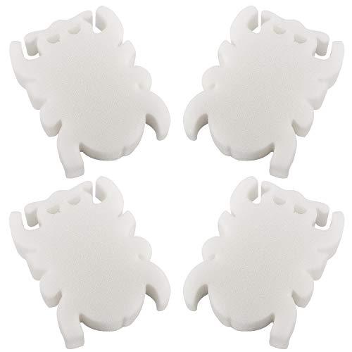 MoKo Esponja Absorbente de Aceite de Limpieza, [4 PZS] Lindo Elemento de Filtro Limpio en Forma de Araña, Esponja de Espuma Reutilizable Ideal para Limpiar Bañera, Piscina, Pecera, Blanco