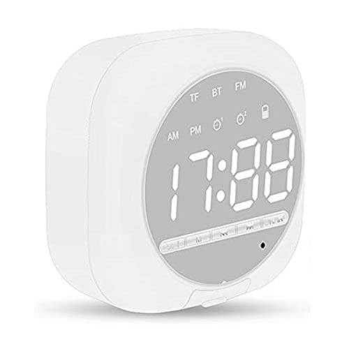 Reloj Despertador Digital con Altavoz Bluetooth Inteligente, Altavoz Inalámbrico Portátil, Reloj Despertador Dual, Radio FM, Pantalla LED, Micrófono Incorporado, Brillo Ajustable (Blanco)