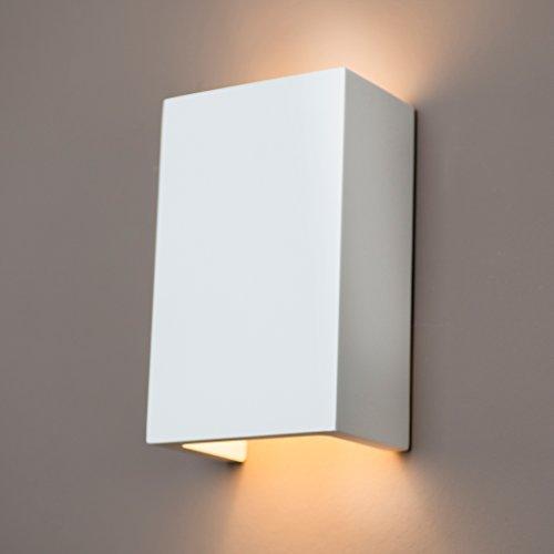 Gipswandleuchte von Activled Gipsleuchte AL-GL8429 im modernen Design in Wandfarbe überstreichbar G9 bis 40W 230V 50Hz Ideale Wandleuchte aus Gips für Wohnzimmer Flur und Diele