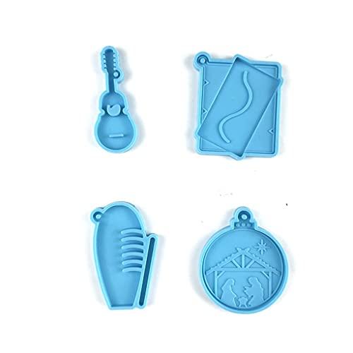 Gergxi Colgante colgante, llavero de resina epoxi, pendientes de molde de silicona para manualidades, color azul
