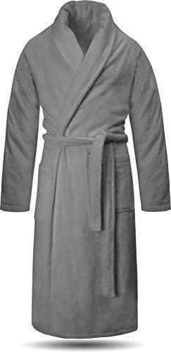 normani 100% Baumwoll Bademantel Saunamantel zweifarbig und einfarbig mit und ohne Kapuze für Damen und Herren [Gr. XS - 4XL] Farbe Grau Größe L